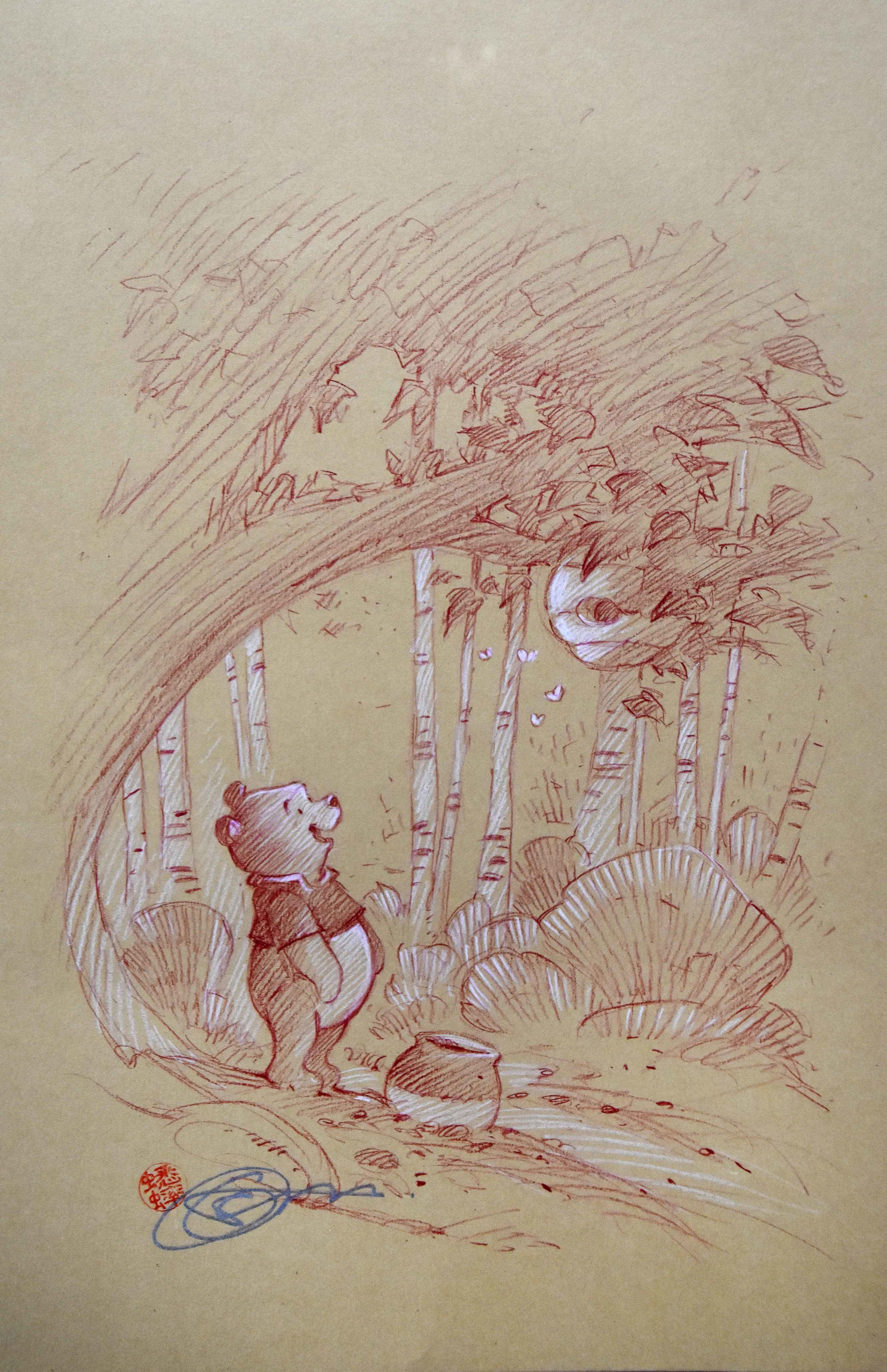 Winnie the Pooh in Spring (Drawing) -