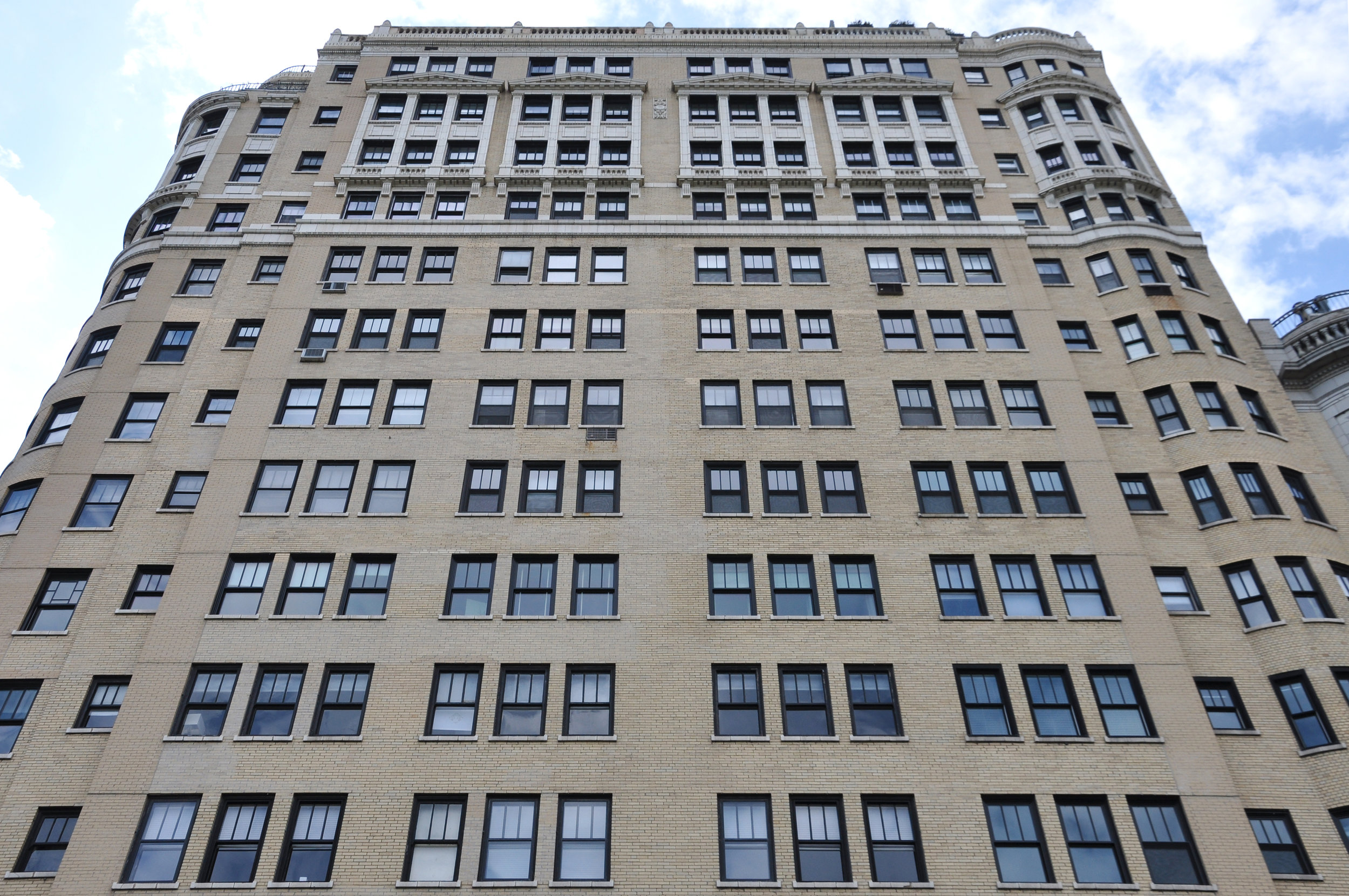 decorative terra cotta brick highrise, ordinance-required exterior facade inspection, repair documents, construction observation, exterior repair restoration, construction administrative services