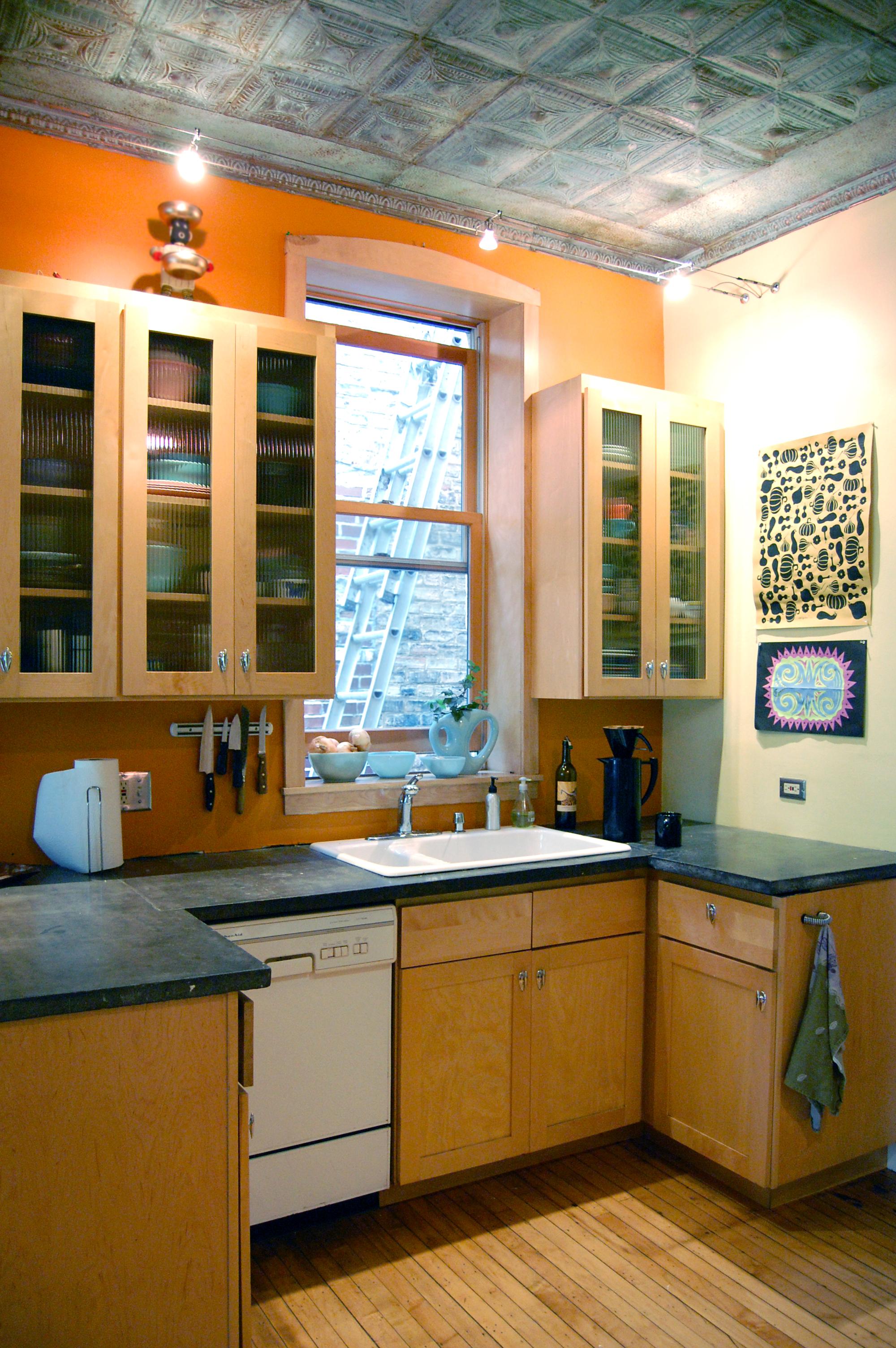 modern addition on 1890s single-family brick rowhouse, kitchen renovation