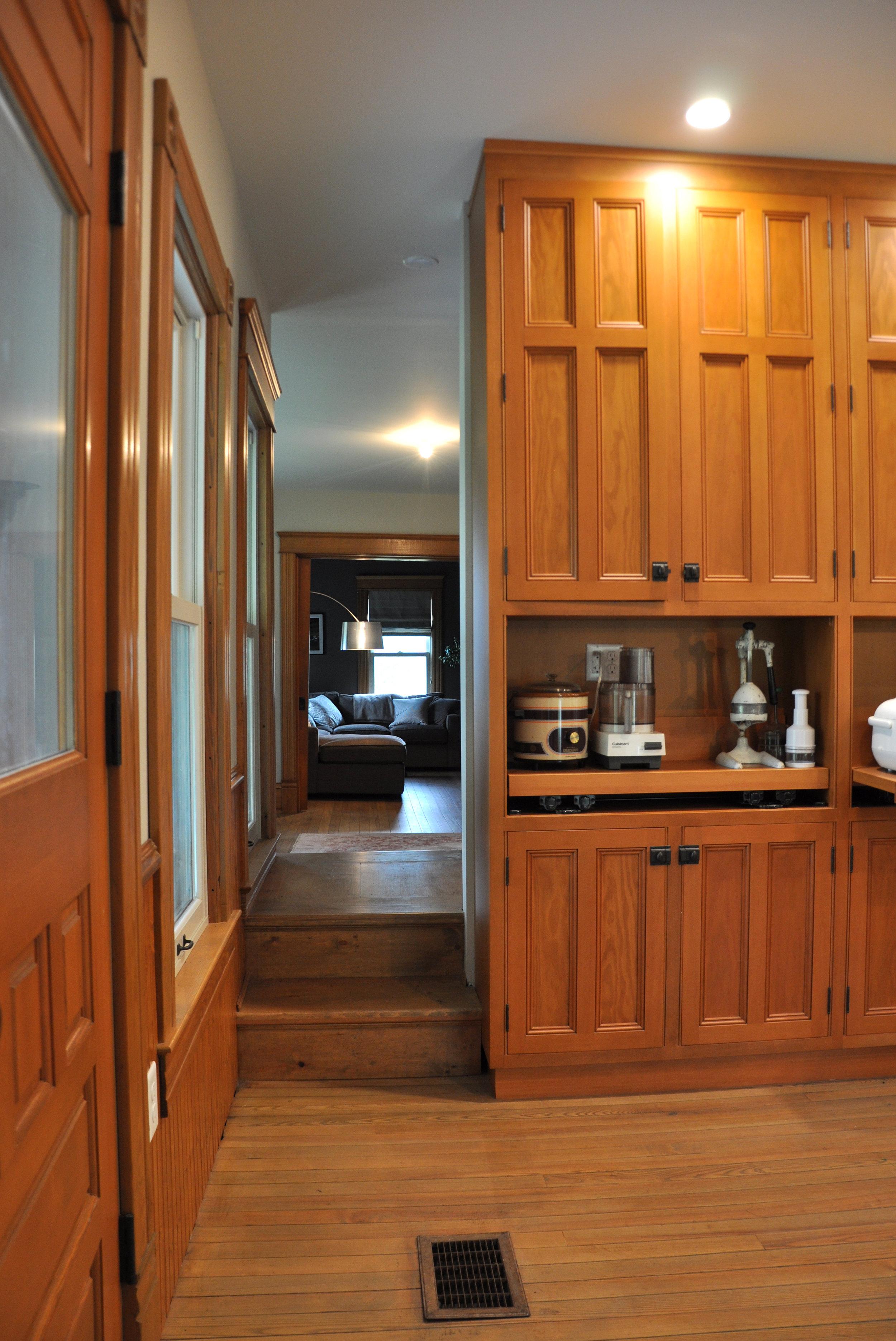 modernized rural farmhouse, residential renovation, open plan, new kitchen, new interior finishes, kitchen storage, interior stairs