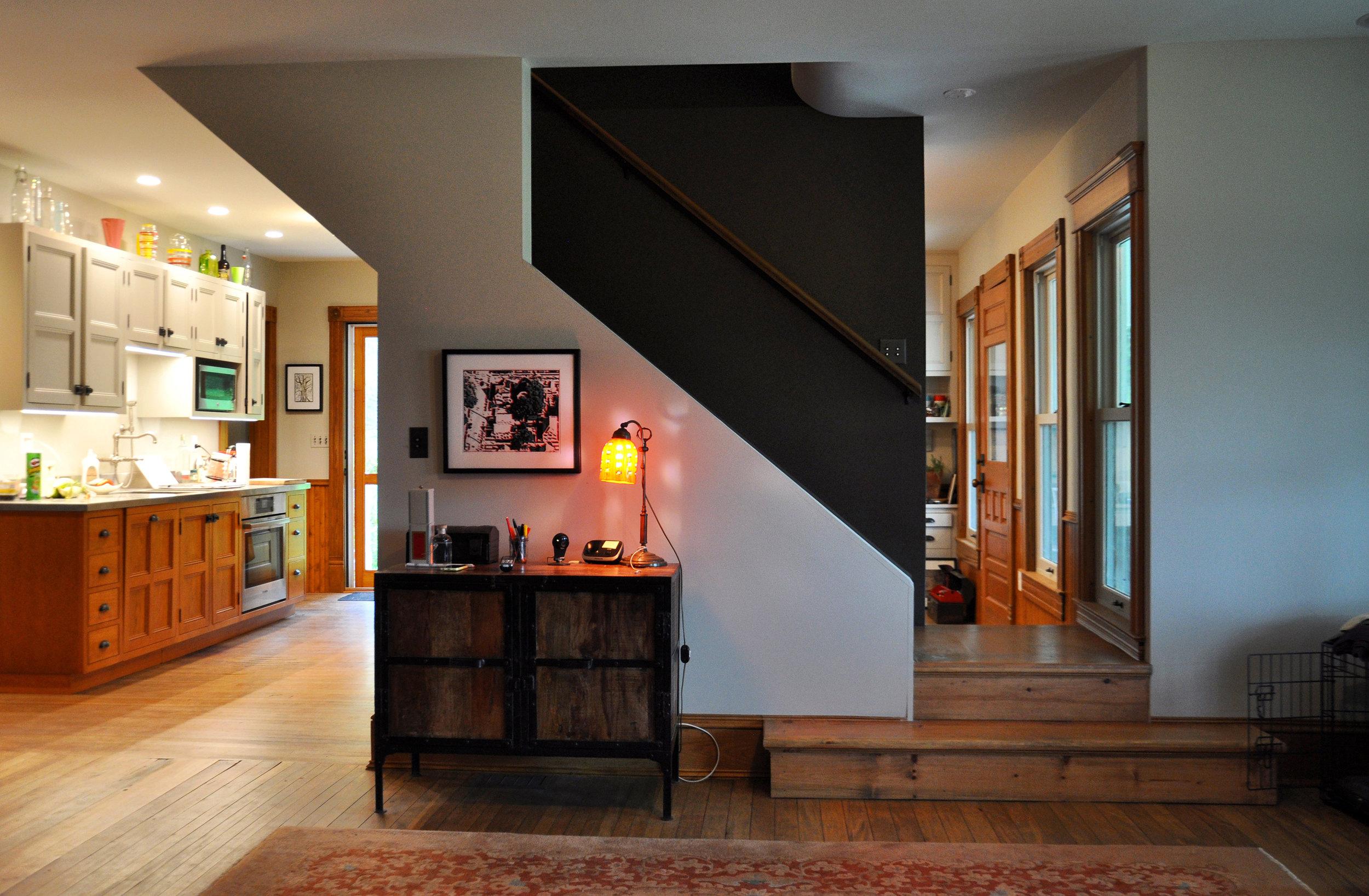 modernized rural farmhouse, residential renovation, interior stairs, new kitchen, new interior finishes, open plan