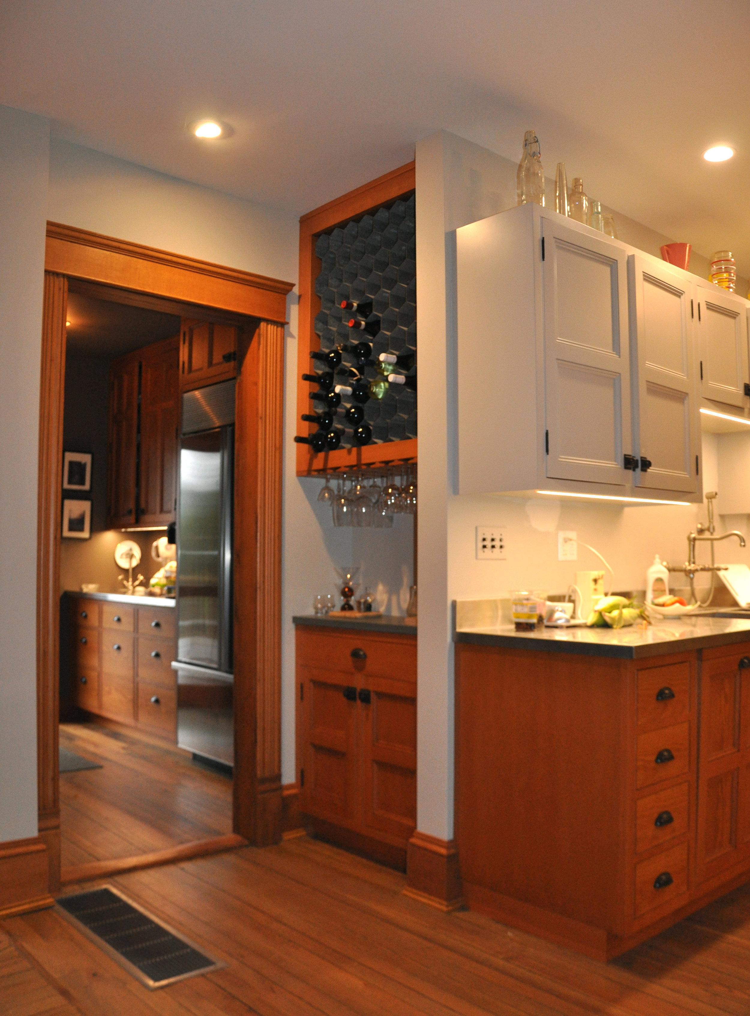 modernized rural farmhouse, residential renovation, open plan, new kitchen, new interior finishes, bar, wine storage, pantry
