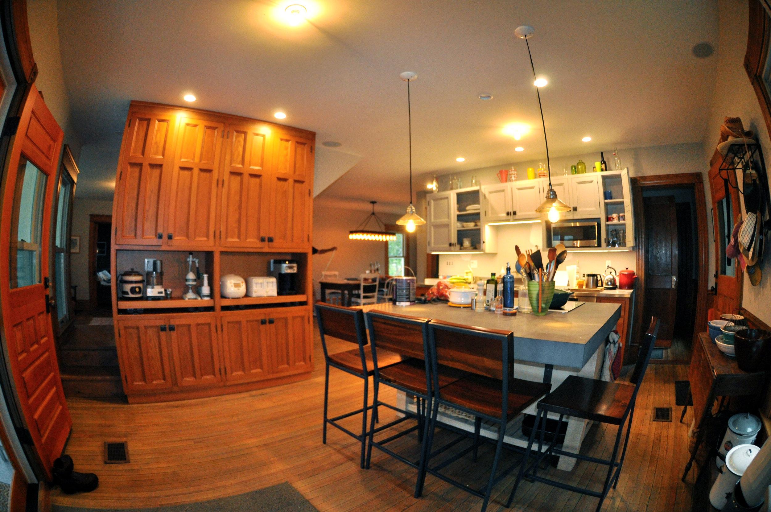 modernized rural farmhouse, residential renovation, open plan, new kitchen, new interior finishes, kitchen island