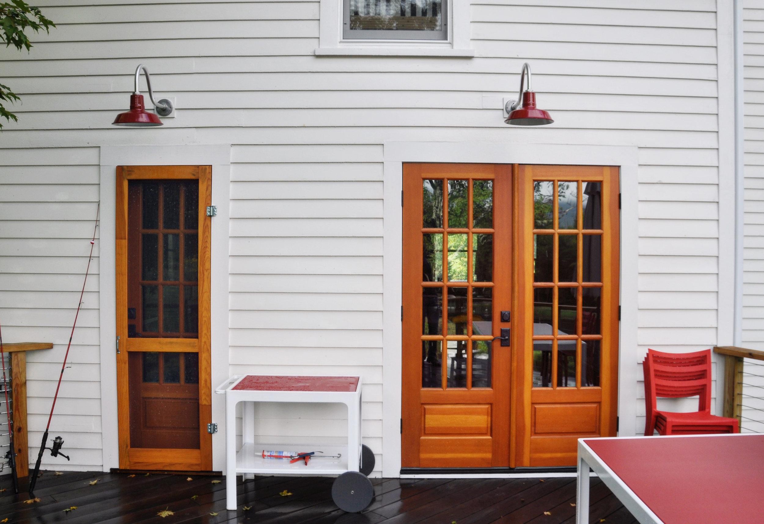 modernized rural farmhouse, residential renovation, deck, porch