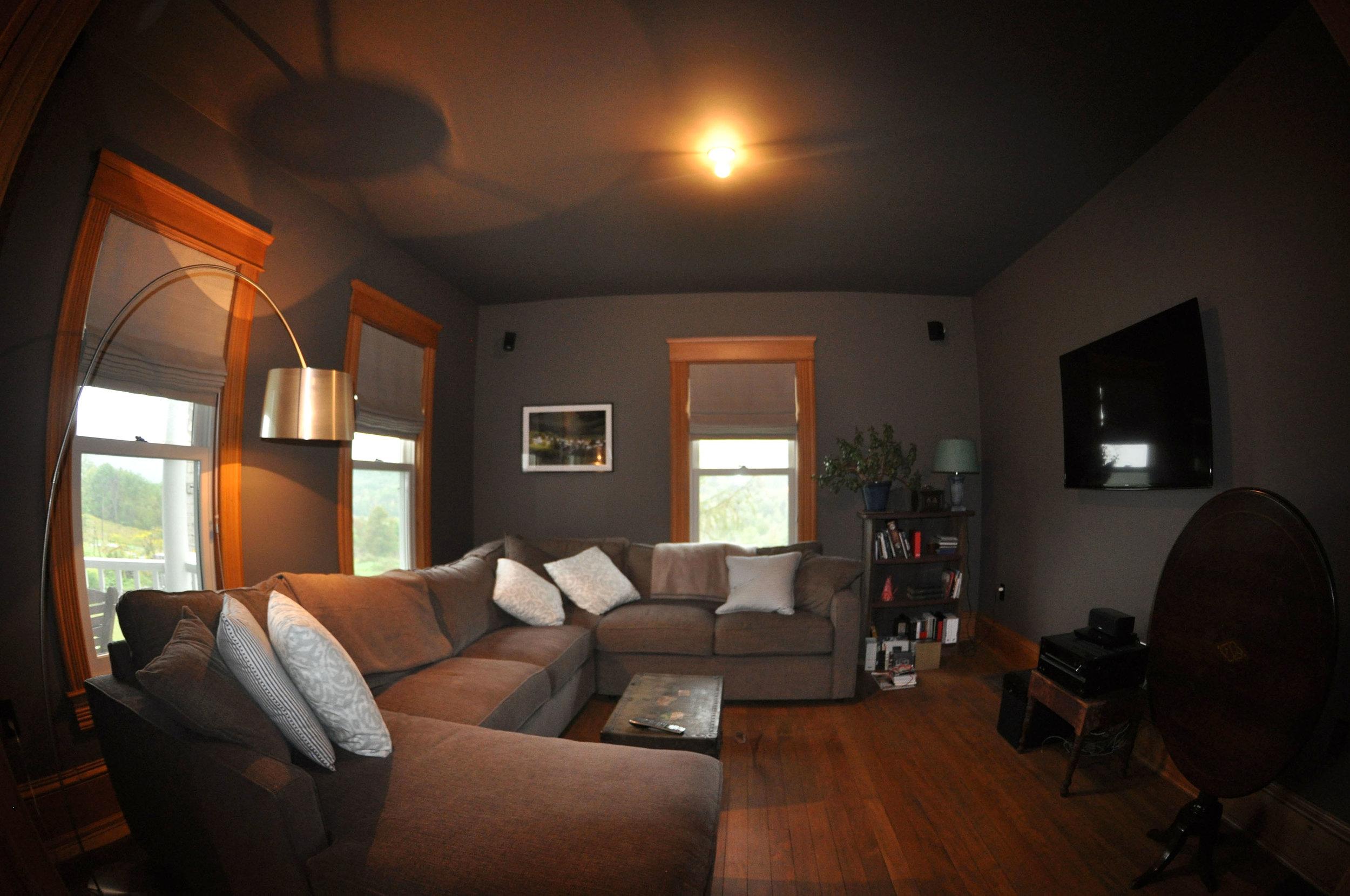 modernized rural farmhouse, residential renovation, open plan, new interior finishes, living room, den, media room