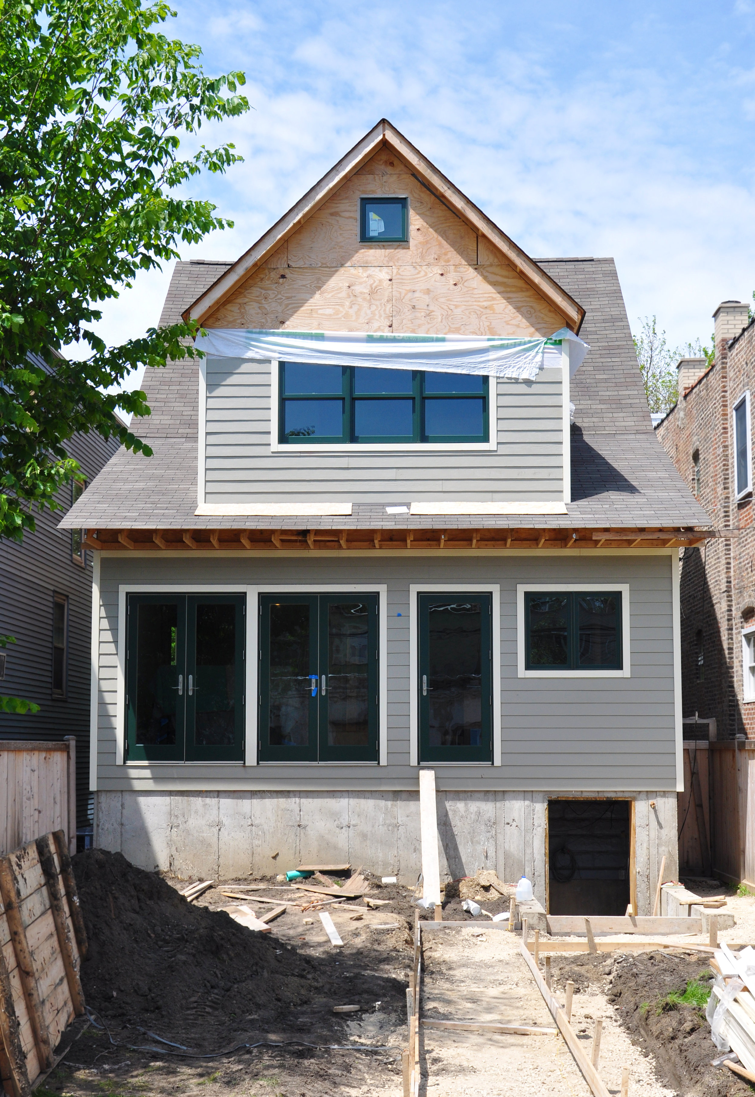 single-family residential addition and renovation, compact design, french doors
