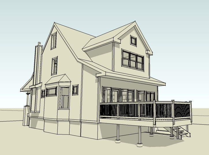 single-family residential addition and renovation, compact design, Google SketchUp Pro, 3D rendering, 3D model