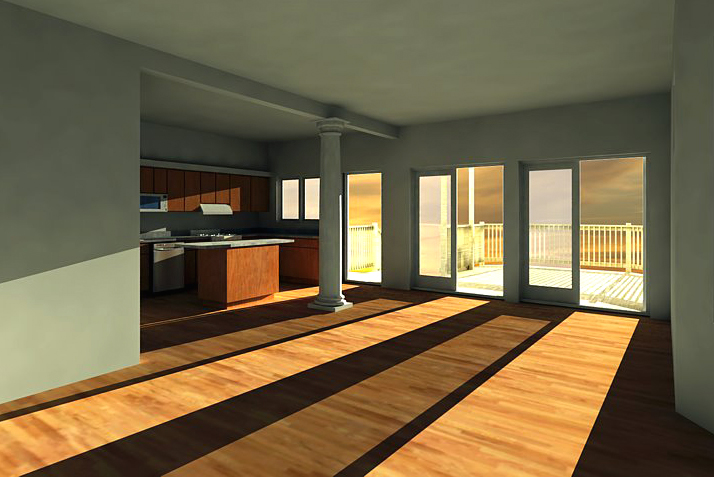single-family residential addition and renovation, compact design, Google SketchUp Pro, 3D rendering, 3D model, interior, living dining kitchen, french doors, kitchen island
