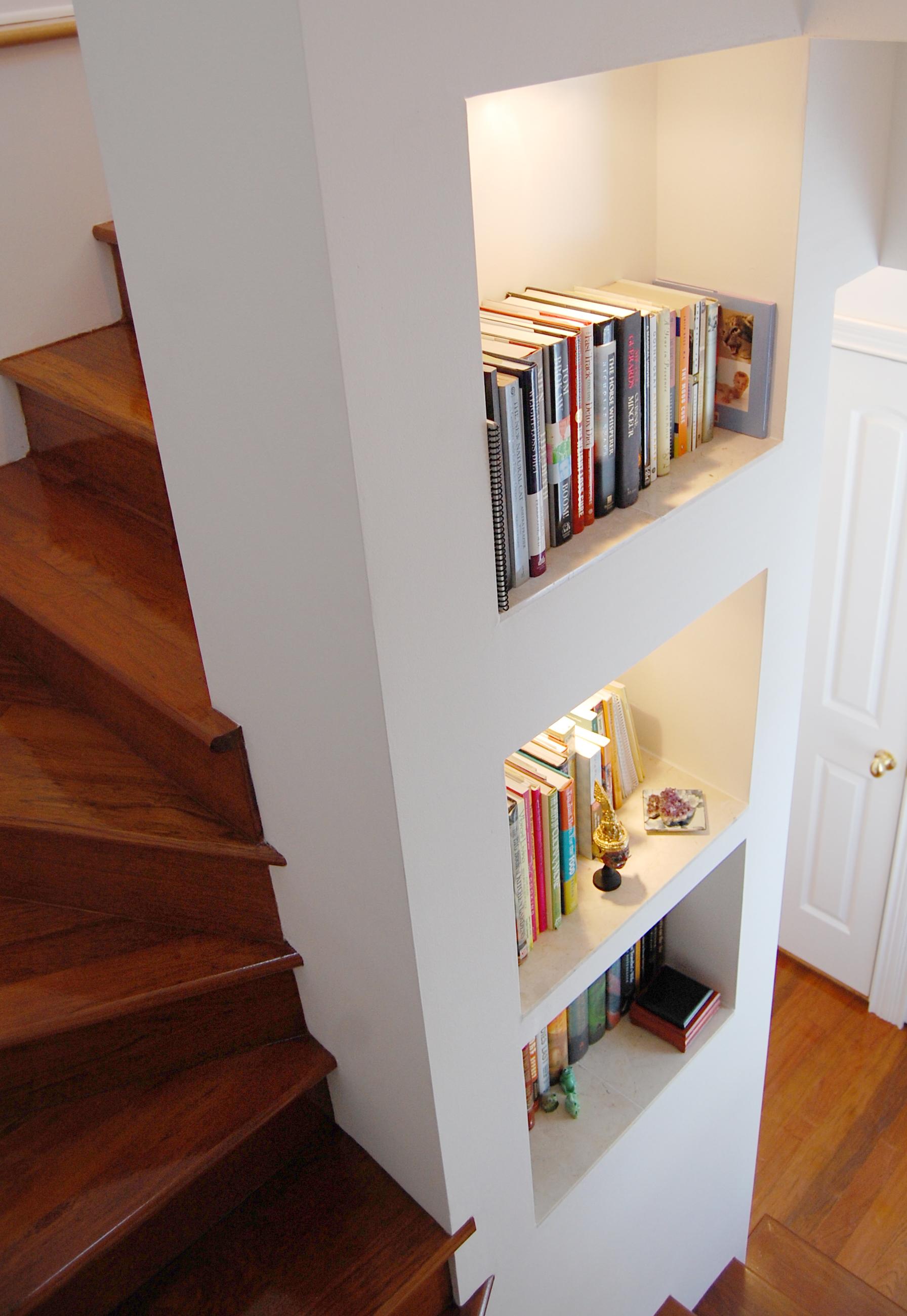 custom gut renovation single-family late-ninteenth-century coach house residential home, interior, skylight, stairs, built-in shelves, hardwood floors