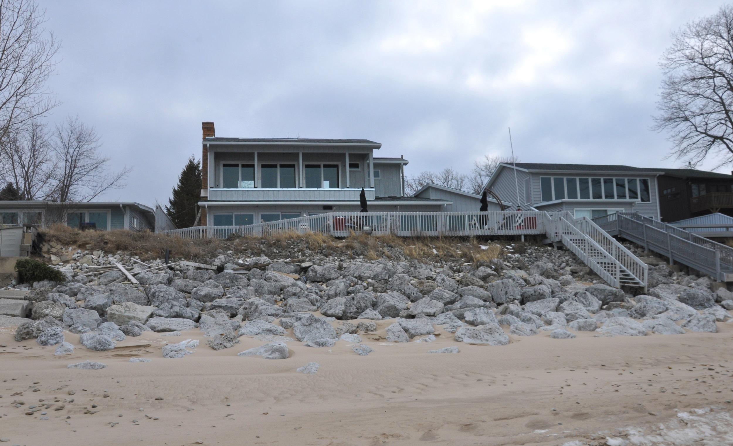 custom single-family residential addition renovation, beach house, lakefront, waterfront, lake michigan, balcony