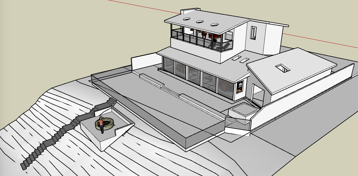 custom single-family residential addition renovation, beach house, lakefront, waterfront, lake michigan, balcony, Google SketchUp Pro, 3D digital rendering model