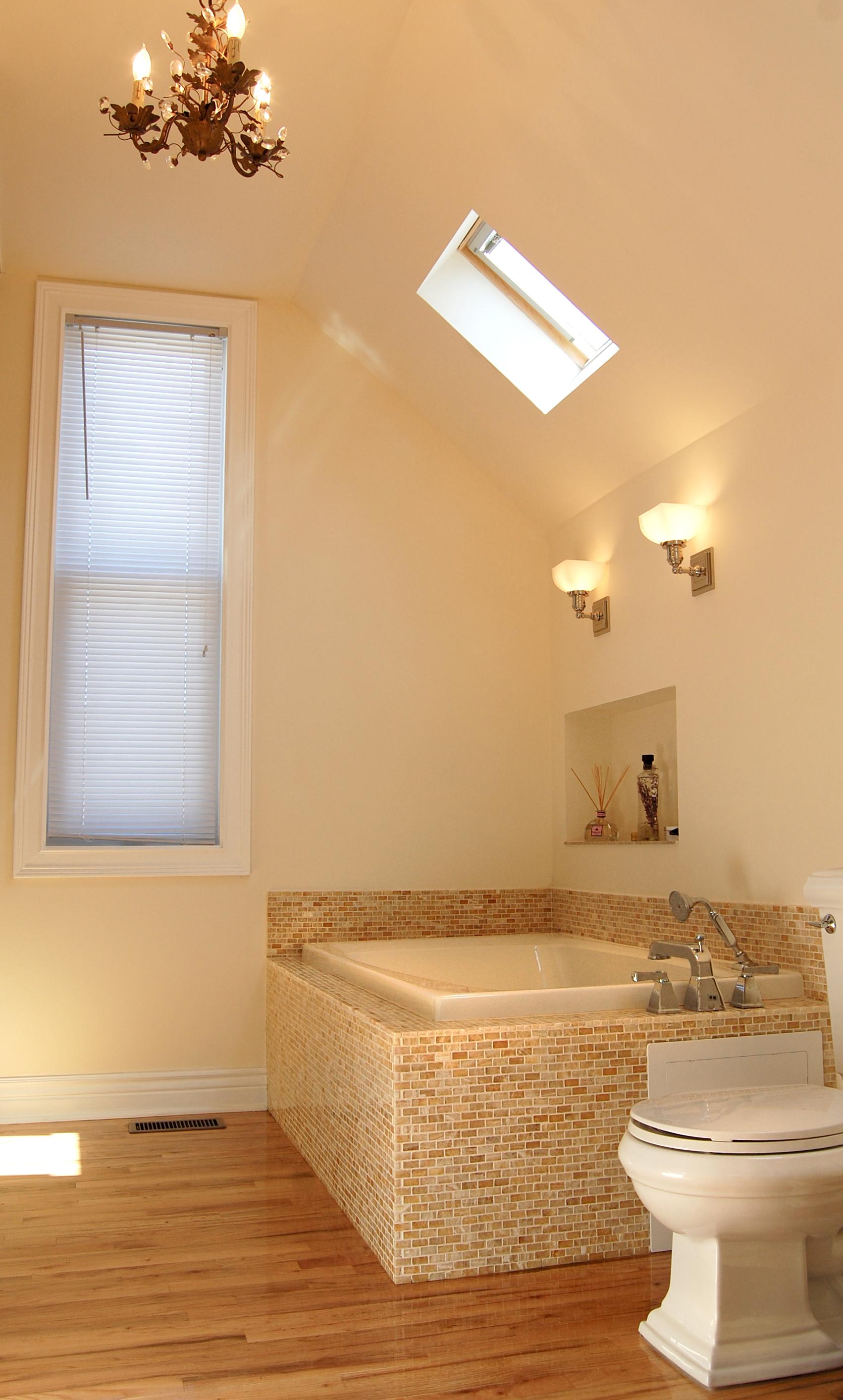 custom residential gut renovated bathroom bathtub skylights