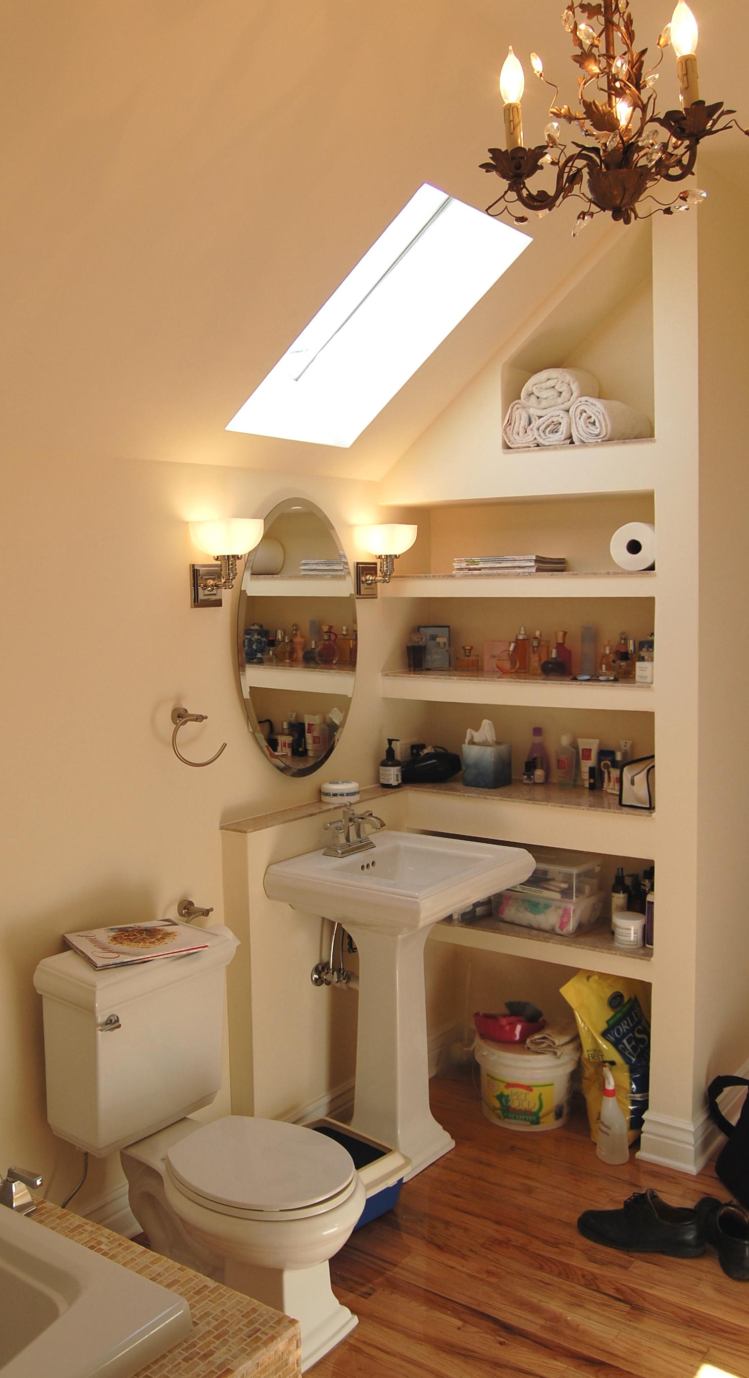 custom residential gut renovated bathroom skylight toilet sink built in shelving