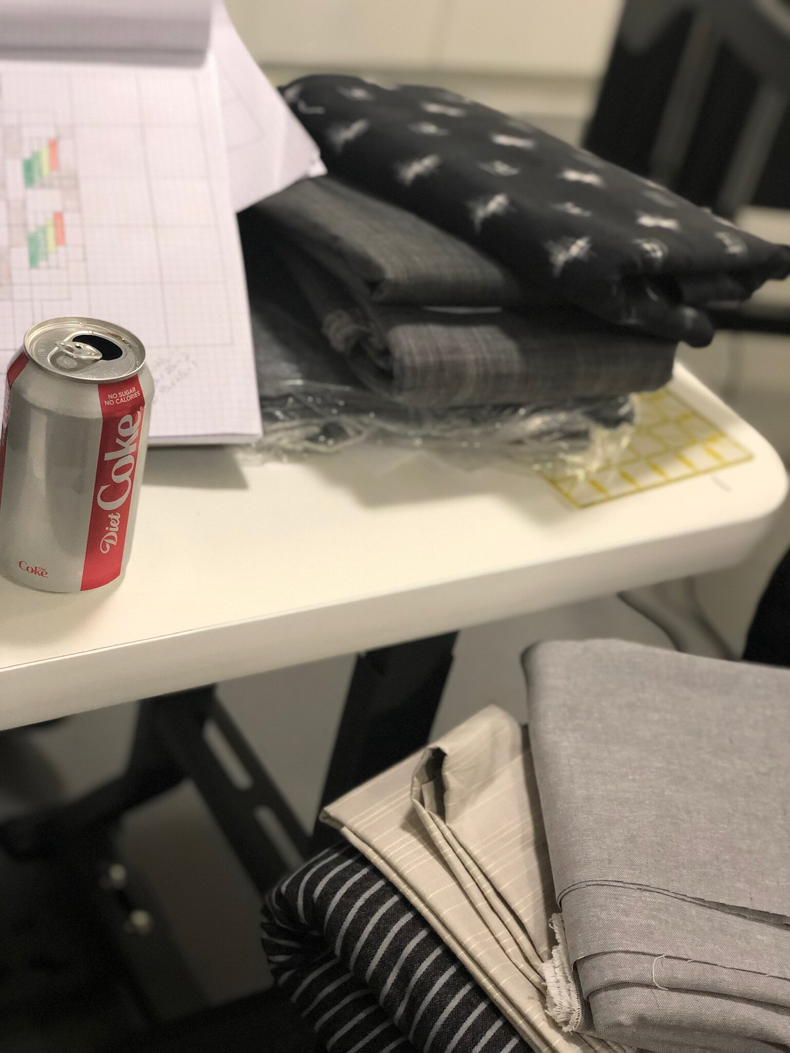 Fabric options and of course that Diet Coke. Future sponsor?