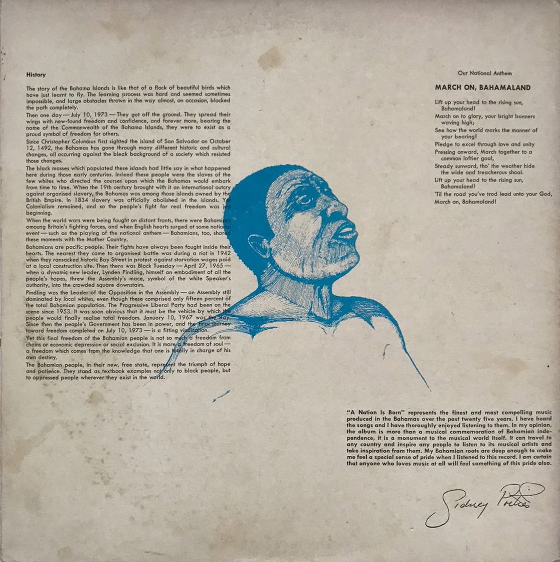 """An Excerpt From the Album art for """"A Nation Is Born"""", featuring the lyrics and history of our national anthem"""