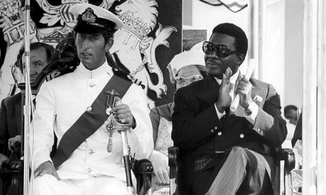 The Rt. Hon. Sir Lynden O. Pindling (Right) & Prince Charles (Left) Pictured at the independence Day celebrations