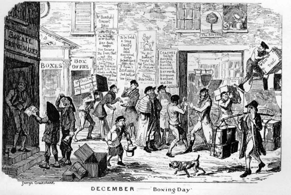 Early depiction of townsfolk packing charitable boxes for boxing day