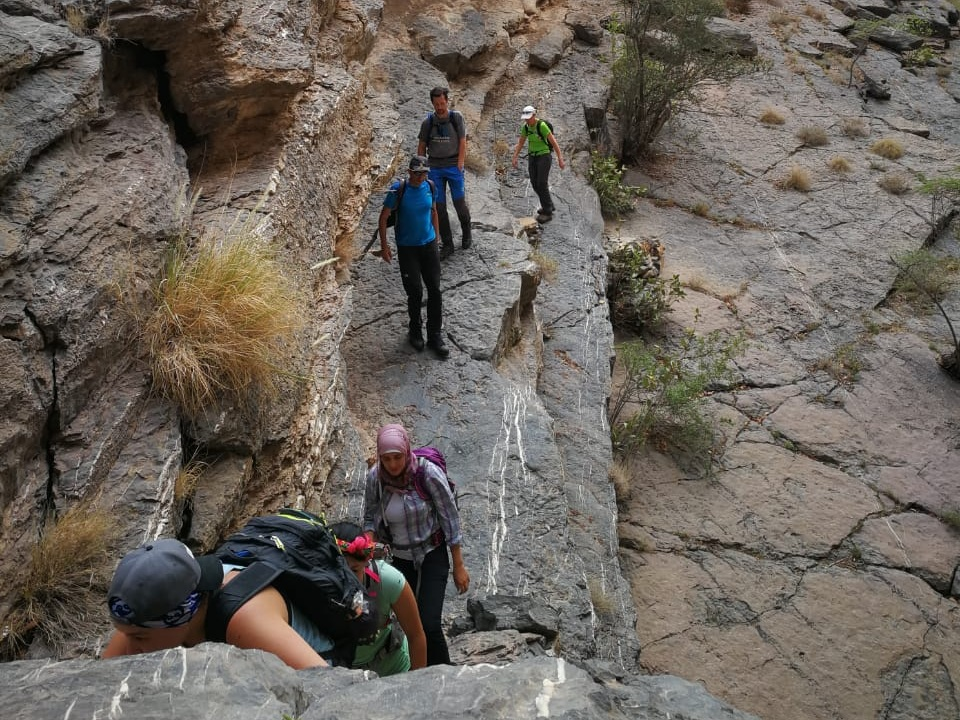 Wadi Shah Beginner Trek - Don't let the 'beginner' fool you. This is a tough trek and a prerequisite to doing the full loop.Trail Type: Loop trailDistance: 12 kmTime: 4.5 hoursTerrain: Scrambling, steep ascends, exposed ledges, screeSuitable For: Moderately experienced trekkersCost: 290 AED plus VAT