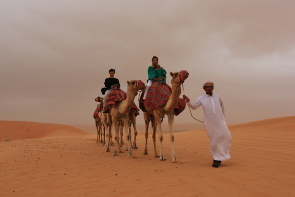 We do the Camel Safari in Oman only twice a season.  Not the tourist duck in and out on the Camel, but a full day on the camel through the Waheeba Sands