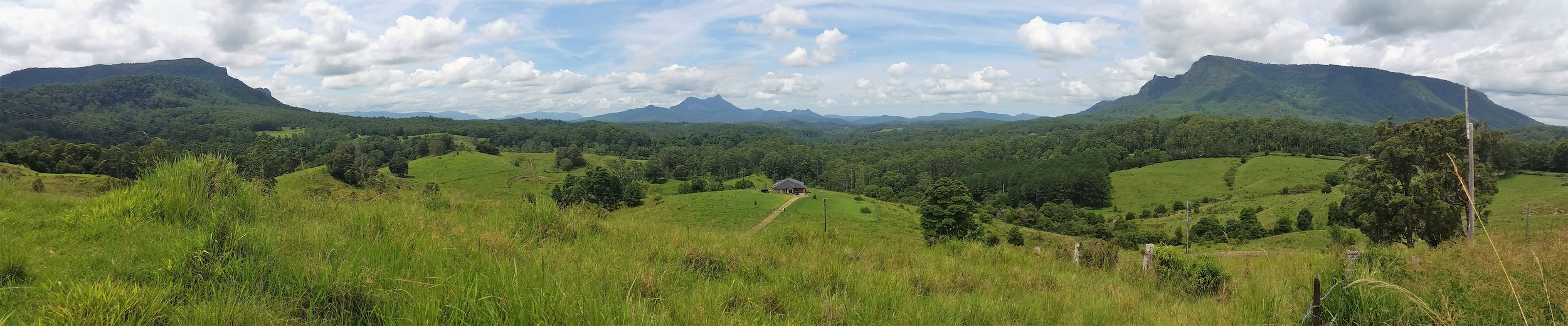 Mt Warning (Wollombin) National Park centre is surrounded by Border Ranges National Park (left) and Nightcap Range National Park (right).