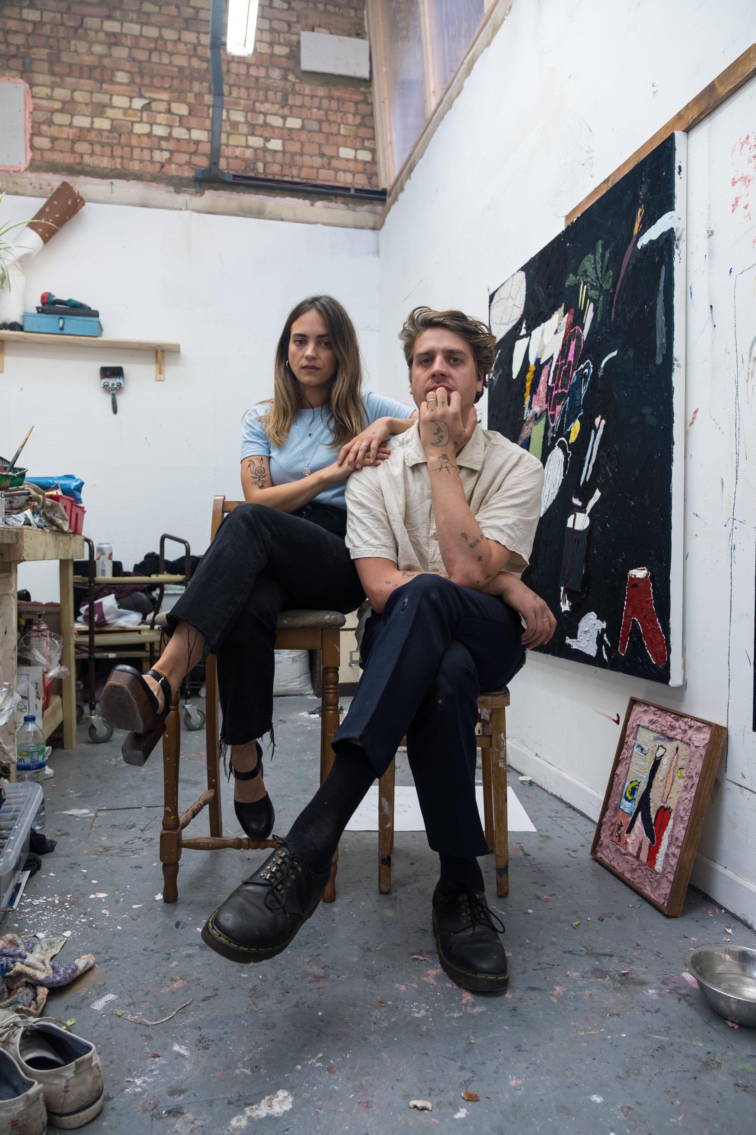Thom Trojanowski and Stevie Dix in their Suffolk Studio.