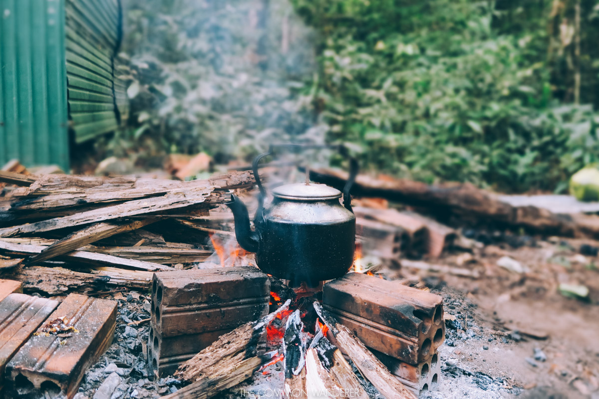 cooking dinner in the jungle, Chi Phat Cambodia