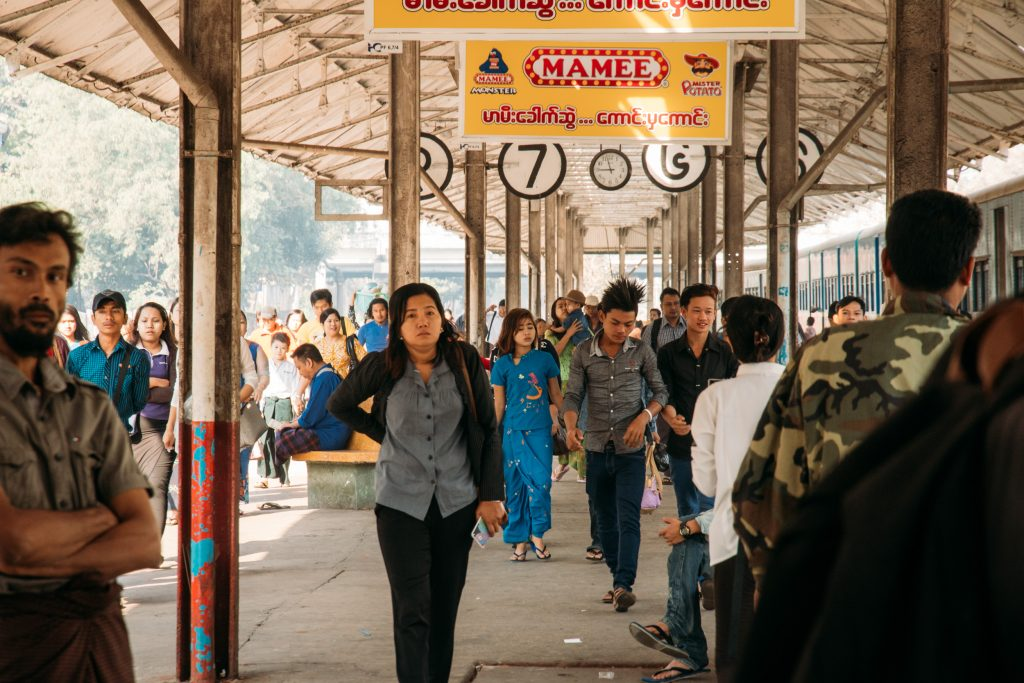 Some of the 100-150,000 people who use the Yangon circle line train daily in Myanmar