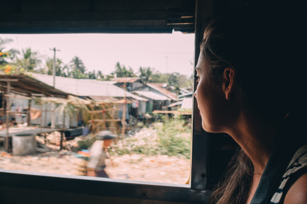 gazing out from the Yangon Circle Line Train