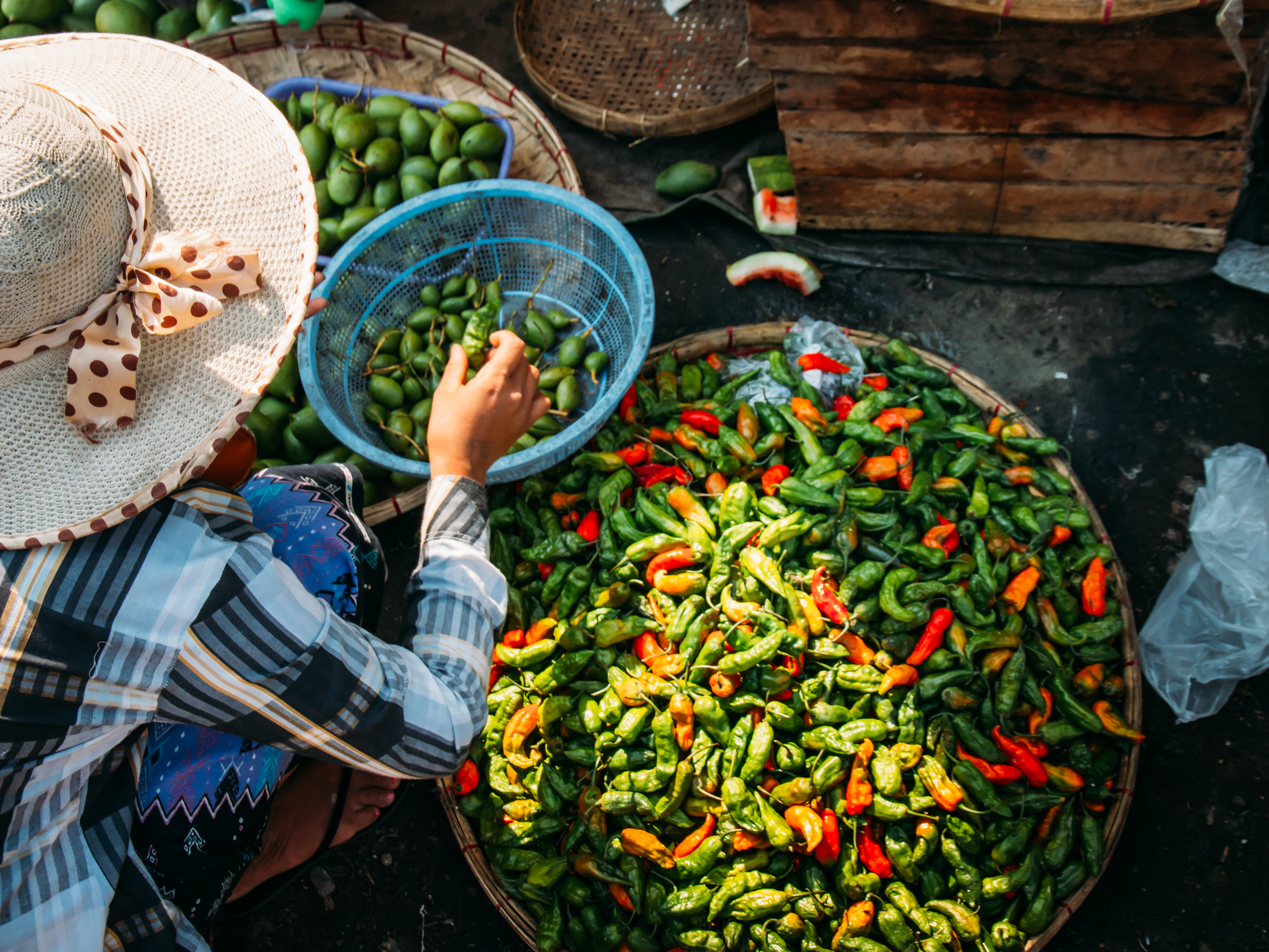 Chilis on sale at Yangon Market - City Circle