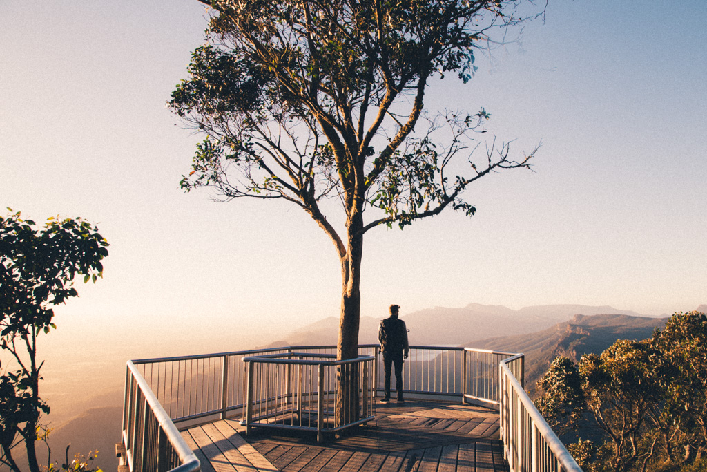 Watching sunrise from Boroka Lookout, The Grampians on our road trip through Victoria, Australia