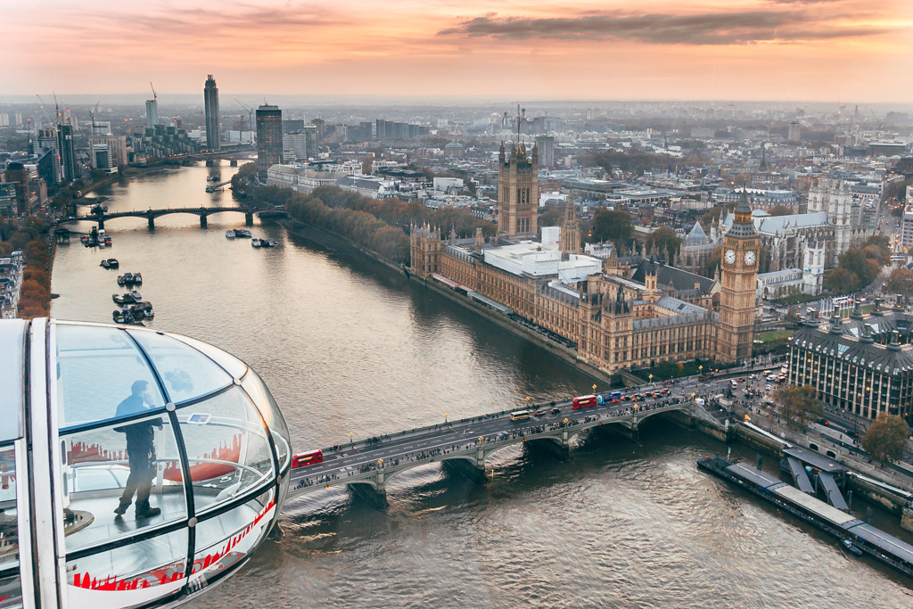 The view of London from London Eye
