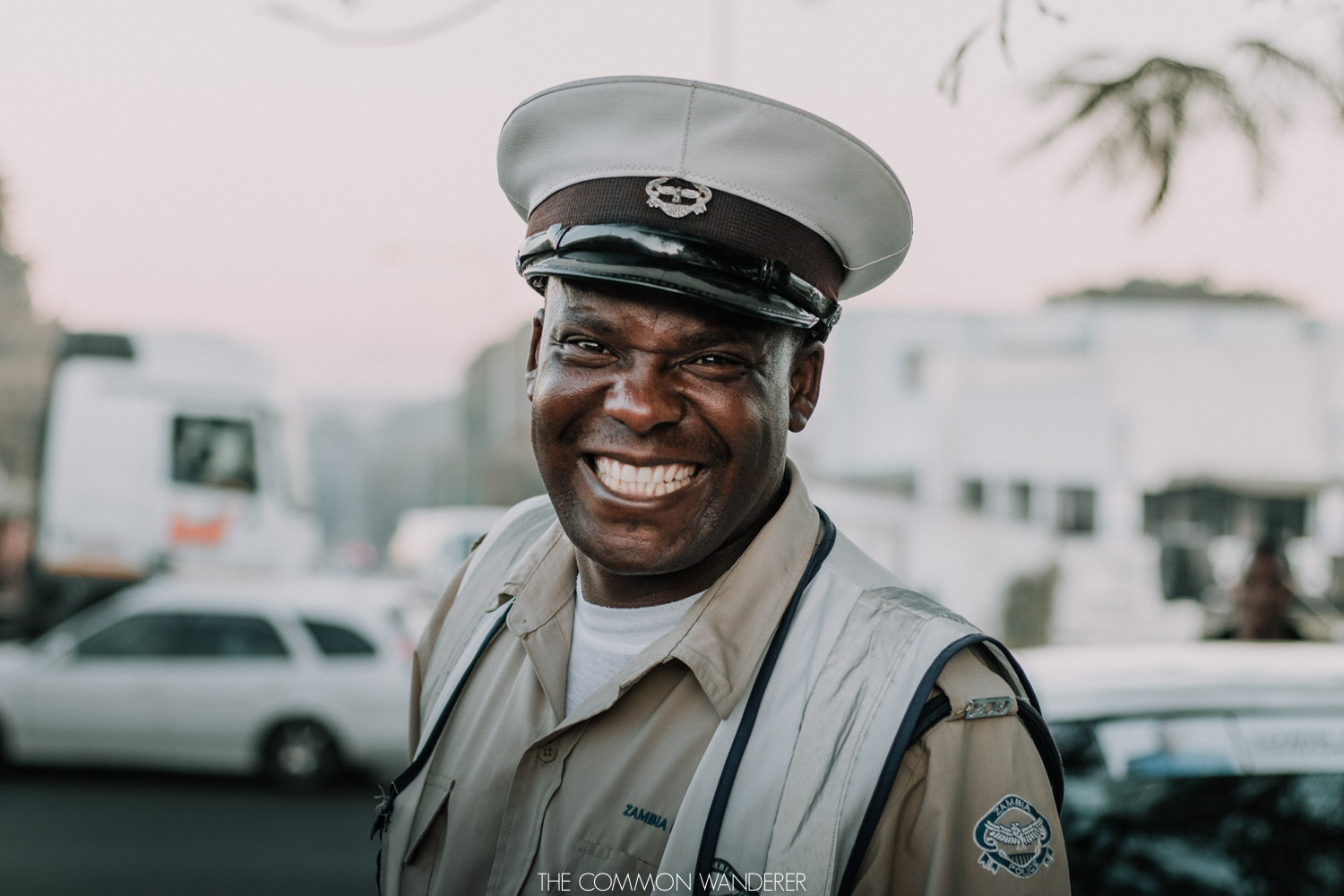 A policeman smiles in Livingstone, Zambia