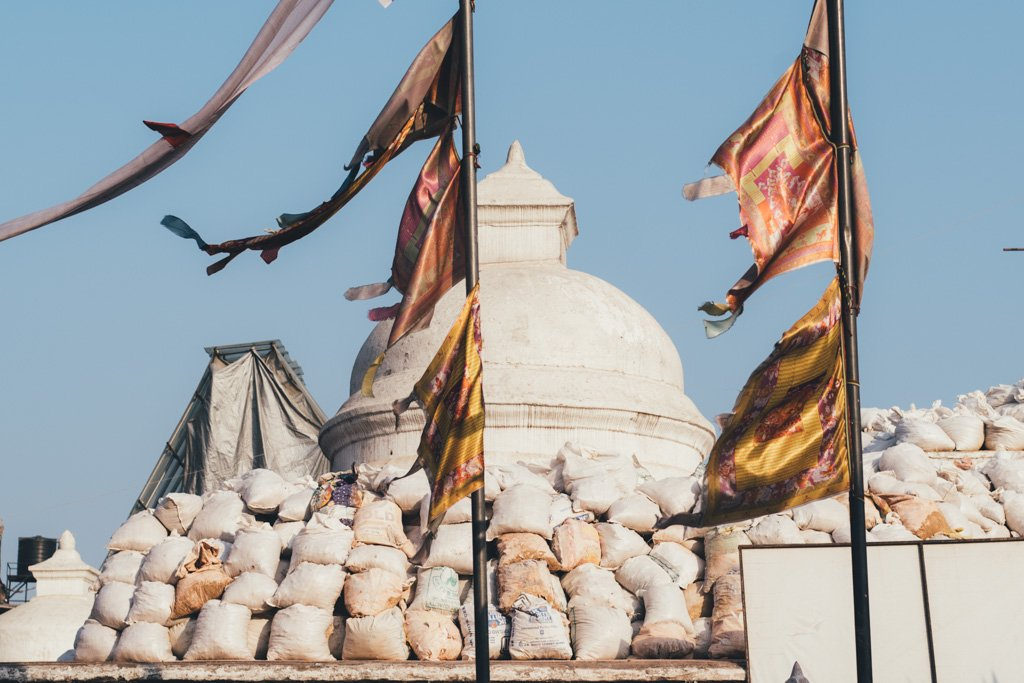 prayer flags on the breeze in Nepal