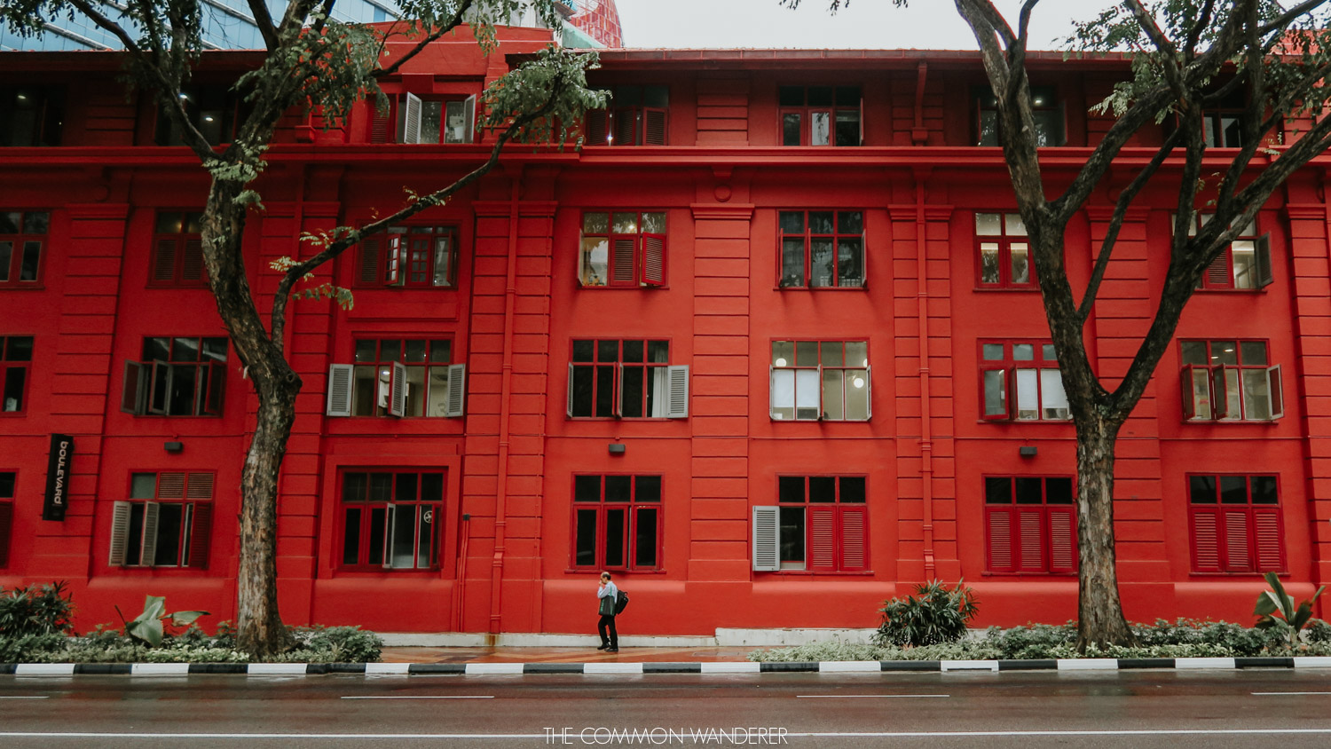 Red building in Singapore