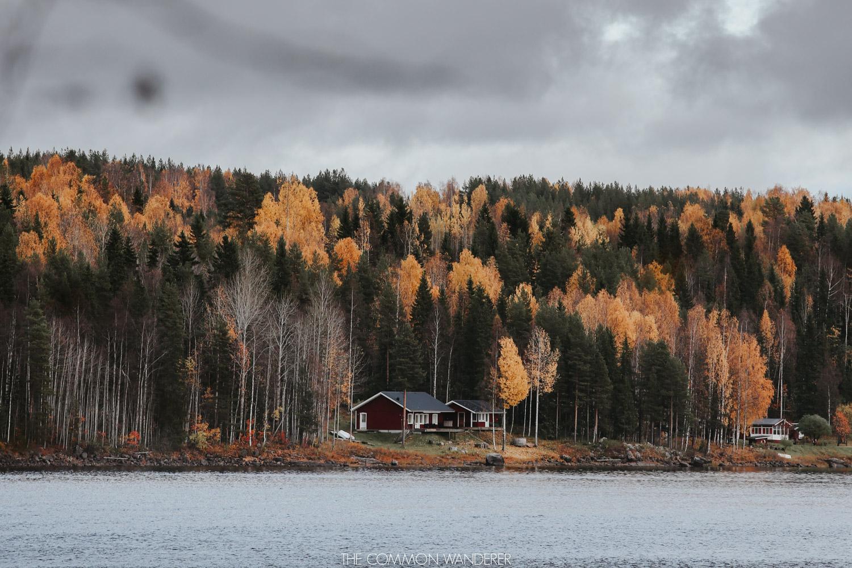 red cabin in Storforsen waterfalls in Swedish Lapland