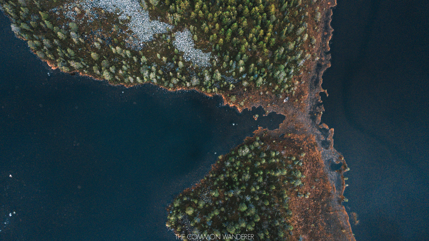 Lapland Pictures: aerial shot of lakes in Swedish Lapland