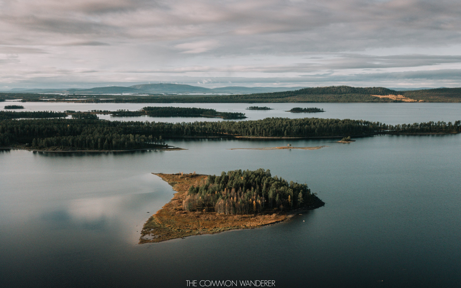 Lapland Pictures: aerial shot of the lakes in Swedish Lapland, Sweden