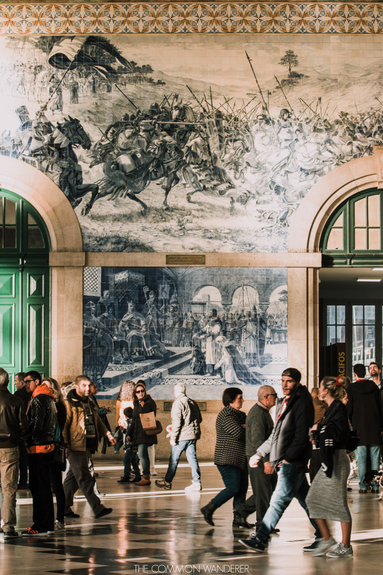 The blue  Azulejos- tiled Sao Bento railway station - an extremely photogenic location in Porto