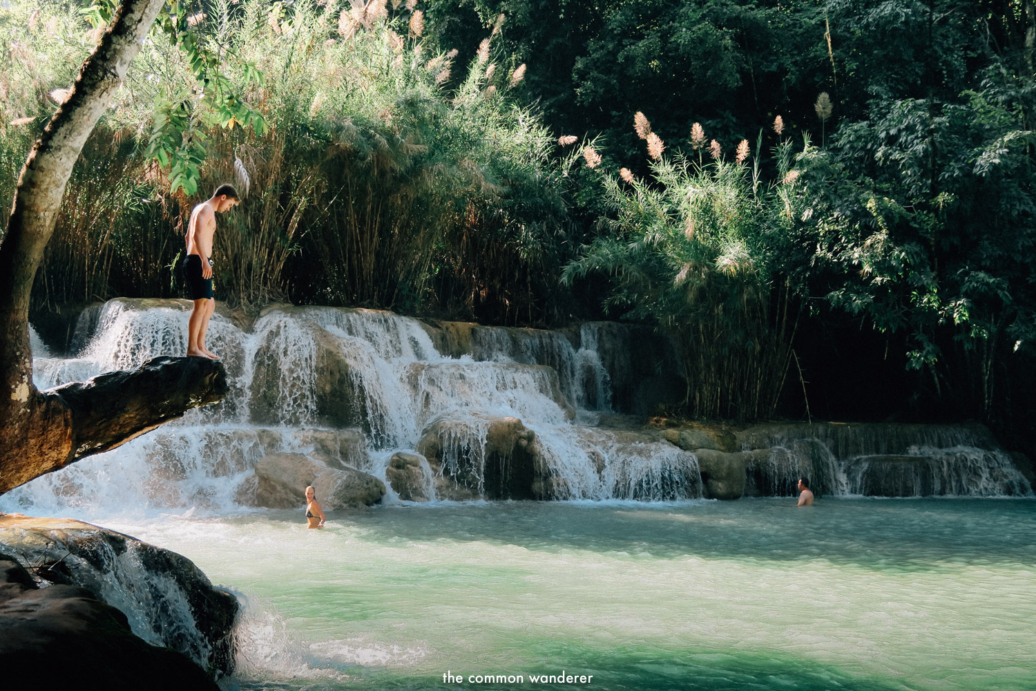 swimming in the lower pools of Kuang Si waterfall