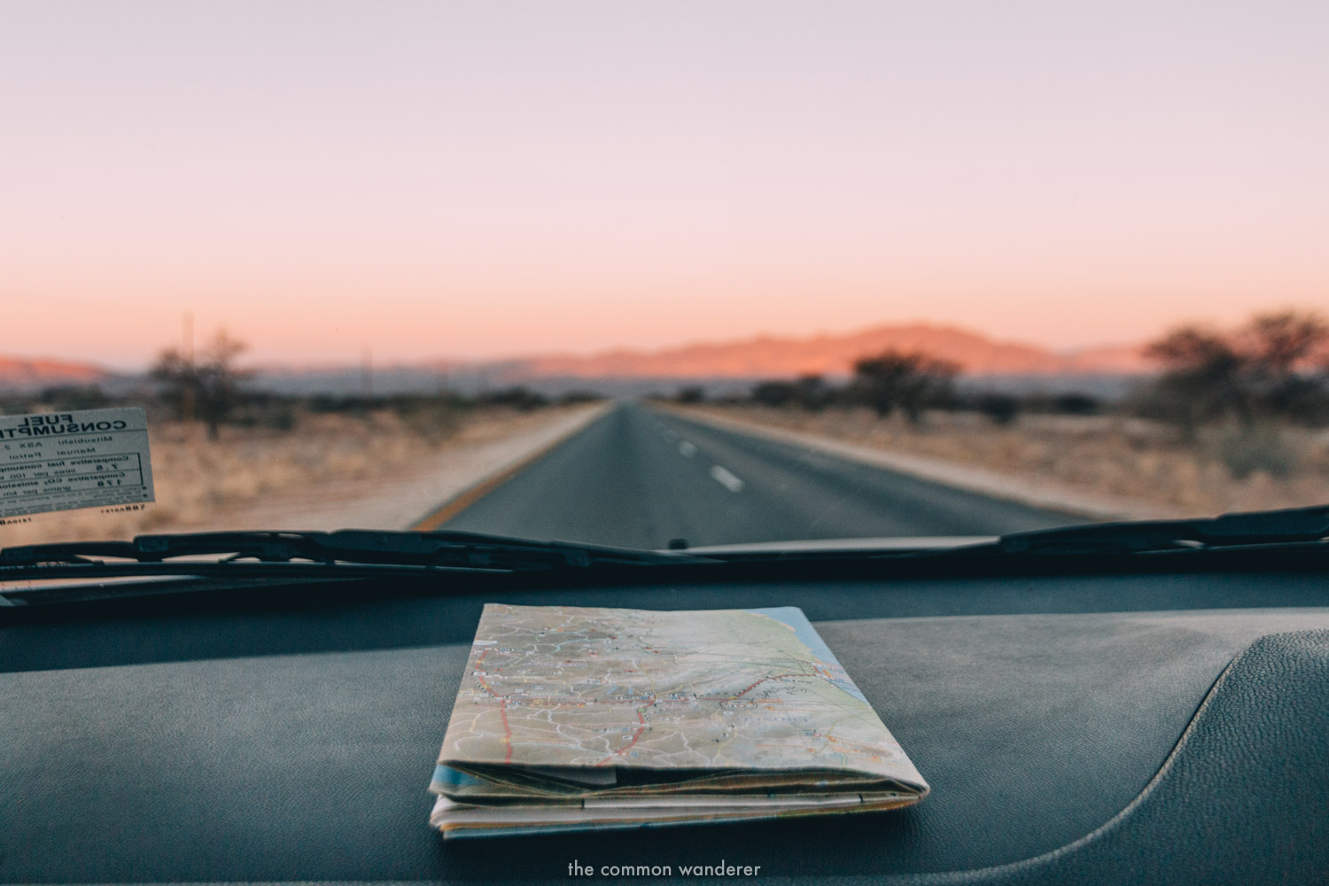 A map on the dashboard of a car, Namibia