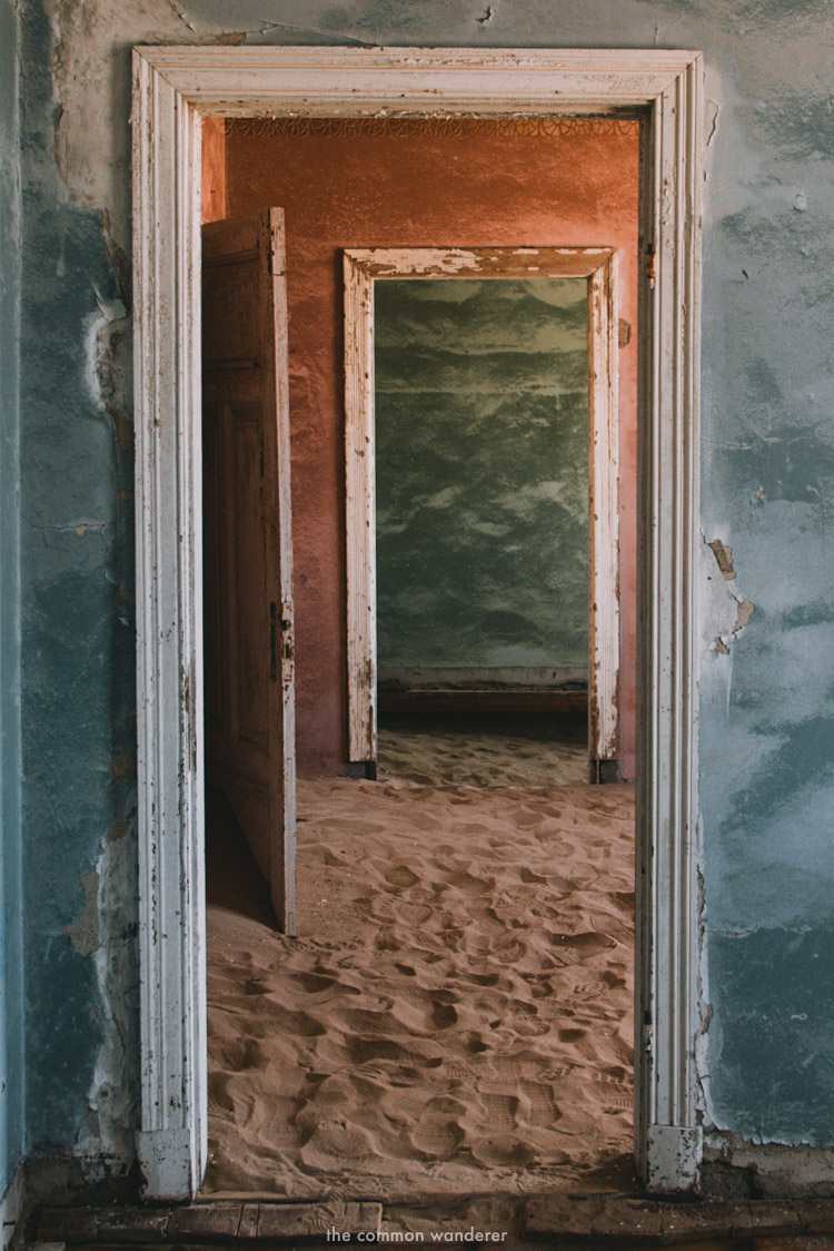 The colourful interior of Kolmanskop ghost town houses, Namibia