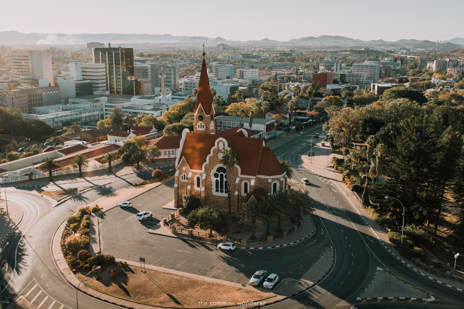 Christuskirche at sunset, Windhoek, Namibia. The starting point for any Namibia self drive itinerary