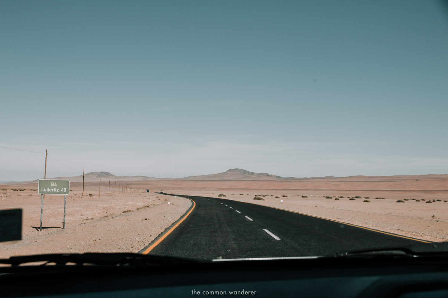 Driving on the long road to Luderitz, Namibia
