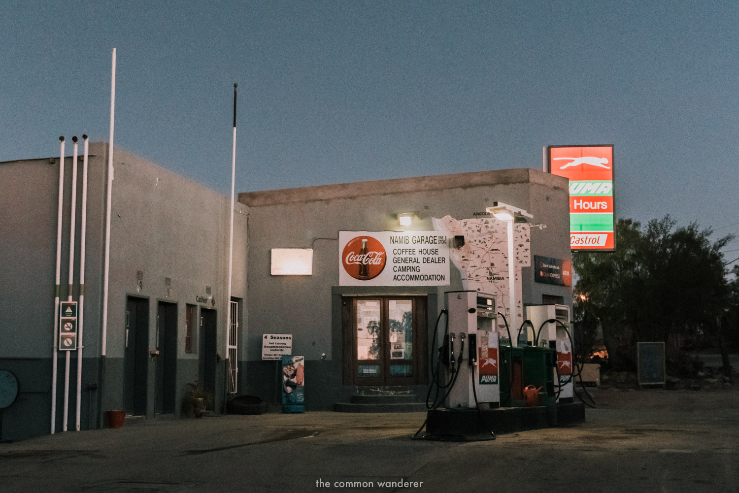 A petrol station at dusk in Aus, Namibia