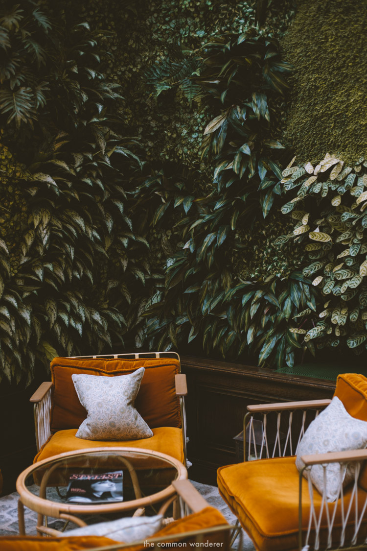 The perfect spot to relax - the lounge chairs by the foliage wall at the Hoxton Paris - THECOMMONWANDERER.COM