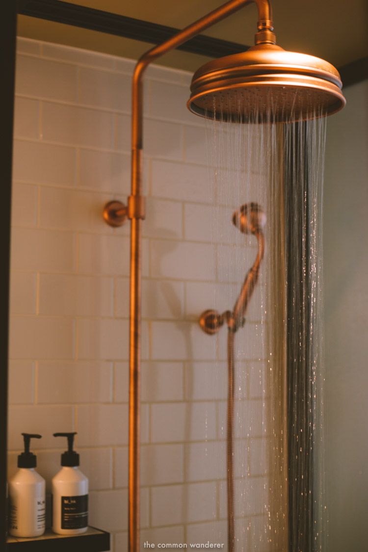 The rain shower and Bl_nk bathroom products at the hotel bathroom - THECOMMONWANDERER.COM