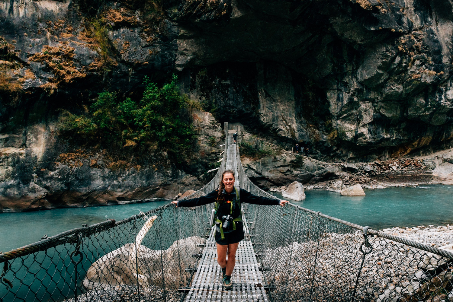 A suspension bridge on the Annapurna Circuit trek, Nepal