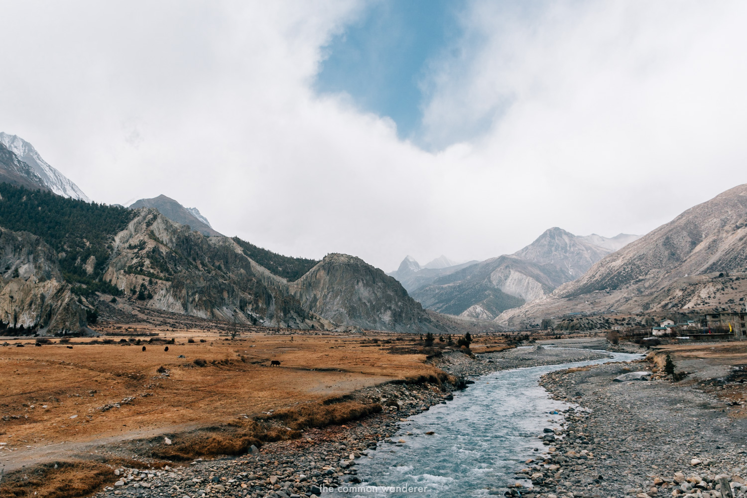 A river flows through the Annapurna Circuit, Nepal