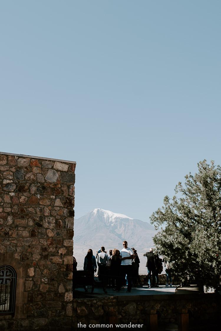 Tourists overlooking Mt. Ararat from Khor Virap Monastery, Armenia