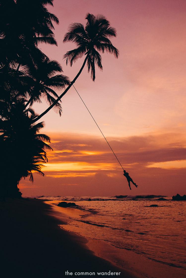 The rope swing at Wijaya Beach, Sri Lanka - best things to do in Sri Lanka